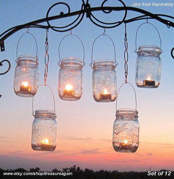 Hanging Garden Lights 12 Mason Jar Lantern Hangers DIY Candle Jar or Flower Vase Hangers, No Jars