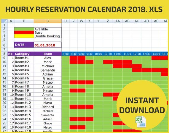 Appointment Scheduling And Hourly Reservation Booking Calendar Etsy
