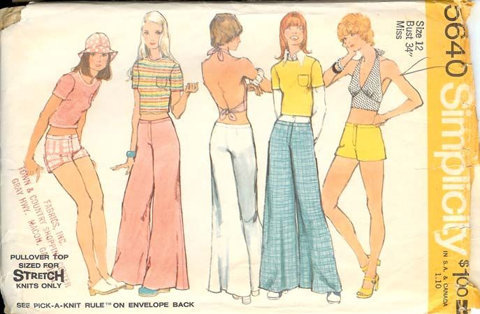Tray usually hates wearing Gram's hand-sewn clothes, but she's getting desperate. She really wants some bell bottoms, so maybe Gram could sew them for her, under Tray's guidance. My mom didn't sew, but my best friend's mother used to buy these Simplicity patterns.