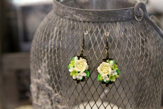 Orecchini fiore di nozze, fiori, gioielli, orecchini fatti a mano, fiori argilla polimerica, da sposa, Accessori Sposa, regalo fo lei