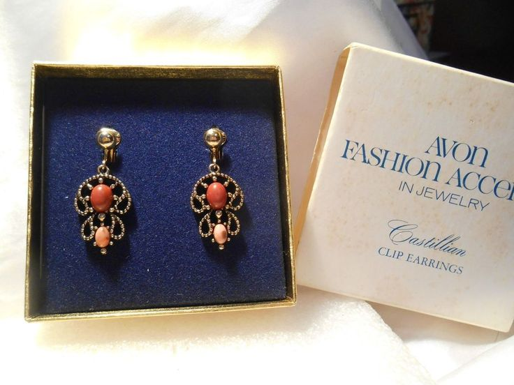 Vintage Avon 1974 Castillian Dangle Gold Tone Coral and Pink Bead Clip Earrings  #Avon #DropDangle