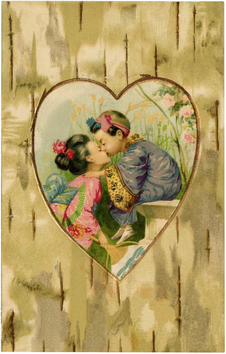 Vintage Children Kissing Image - Asian themed Art - The Graphics Fairy