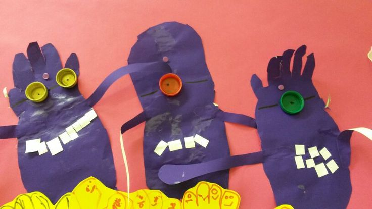 Evil minions!!!!! Bottle lids for eyes. Square paper for crazy teeth.