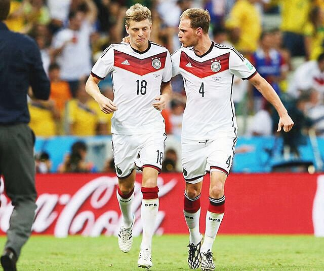 German Footballers; Toni Kroos and Benedikt Höwedes. FIFA World Cup 2014.