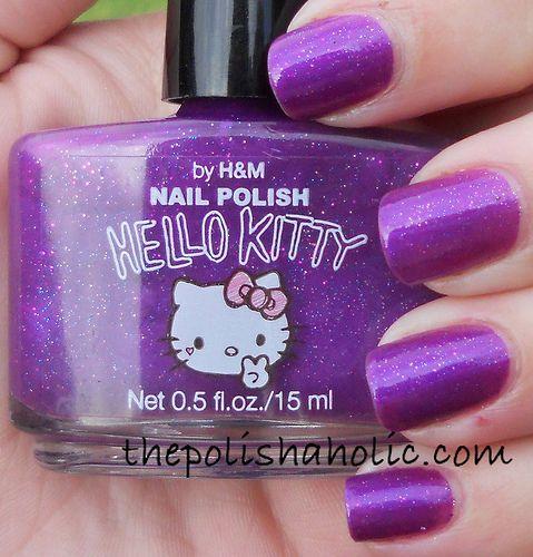Hello Kitty x H&M Purple Nail Polish #HelloKitty #NailPolish: Purple Nails Polish, Nails Skin Hair Beautiful, Beautiful Nails, Hellokitti Nailpolish, Kitty Nailpolish, Things Purple, Purple Nail Polish, Hello Kitty Nails, Polish Hellokitti
