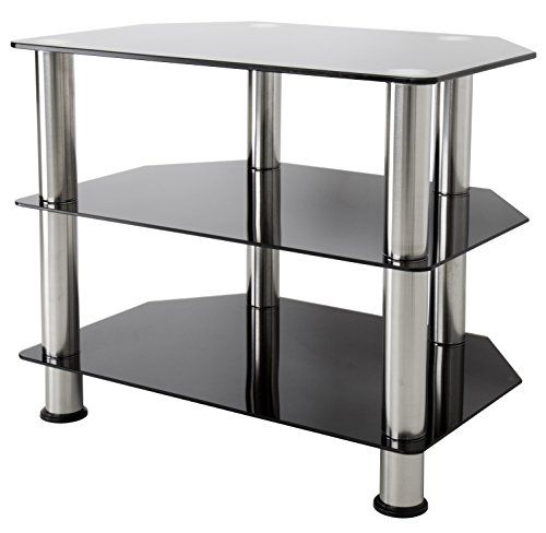 AVF SDC600-A  TV Stand for up to 32-inch TVs, Black Glass, Chrome Legs - http://www.tvstand.ca/tv-stand/tv-stand-for-32-inch-tv/avf-sdc600-a-tv-stand-for-up-to-32-inch-tvs-black-glass-chrome-legs/