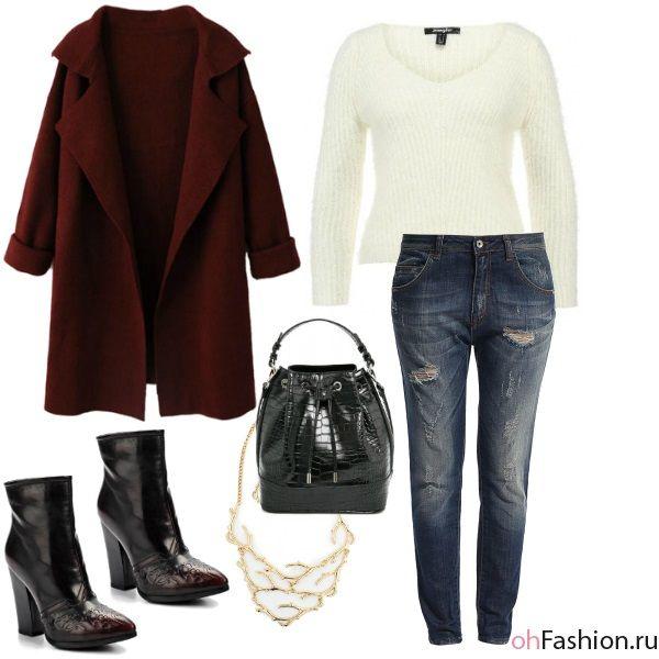 Уличный лук. Пушистый свитер, бойфренды и бордовое пальто - Ох Fashion
