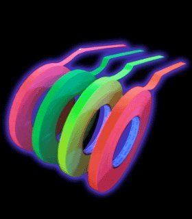 4 Pack 1 Inch Blacklight Reactive Fluorescent Gaffer Tape (50 Yards Per Roll) by DirectGlow LLC, http://www.amazon.com/dp/B0092H0FMU/ref=cm_sw_r_pi_dp_Aqabsb0MJ5M3D/176-3045164-7159940  $47.71