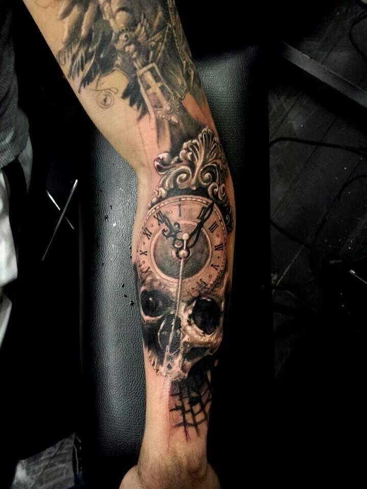 Skull clock tattoo tattoos i like pinterest clock for Tattoo sleeve for dark skin