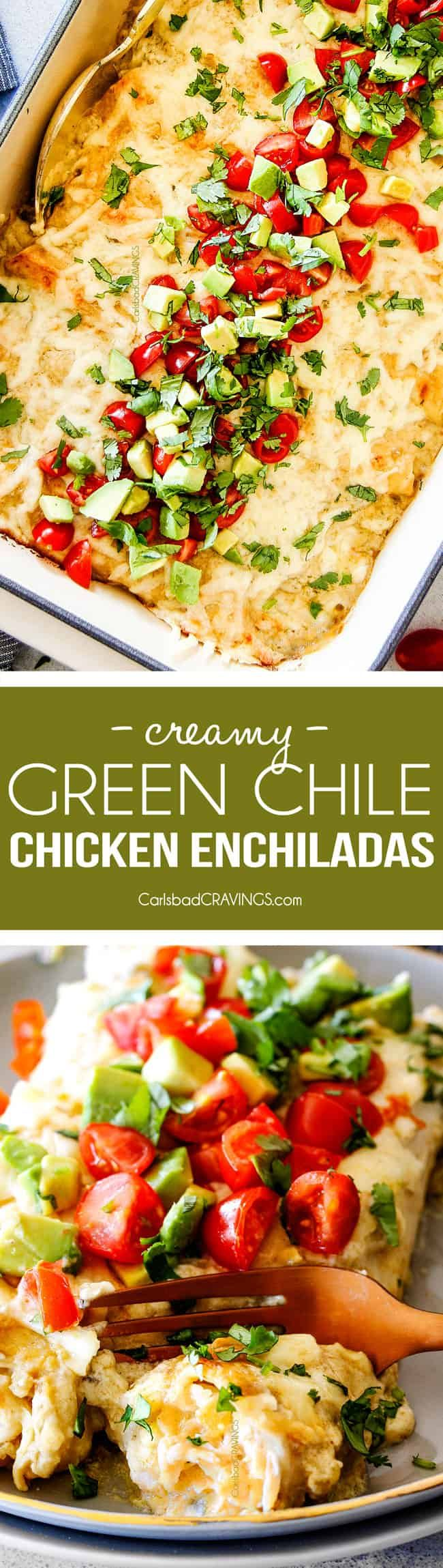 These are the BEST Green Chile Chicken Enchiladas I have ever had!!! They are easy to make, satisfyingly rich, cheesy, creamy and saucy - no dry chicken enchiladas here! And the homemade green chile sour cream white sauceis out of this world! via @carlsbadcraving