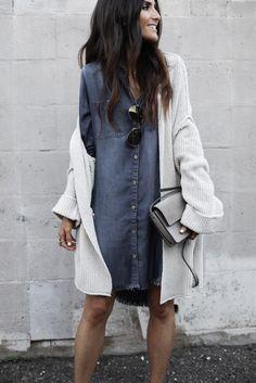 denim dress + cardigan