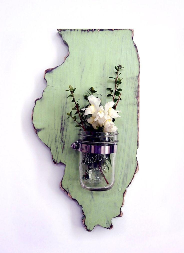 Illinois State Mason Jar Vase Repurposed Candle holder...I would love something like this for Rhode Island!