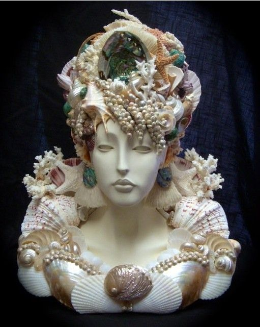 Jocelyn Seashell Bust / Bea's Tropical Designs Jocelyn- Seashell Bust $2,000 (shipping not included) handling included. Measurements are about 23 inches high and 20 inches wide. Heavy bust well designed.