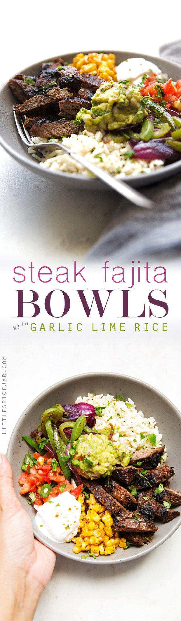 Homemade steak fajita bowls with garlic lime rice. These fajita bowls taste even better than the ones at Chipotle! The secret is the homemade marinade for the steak... it is to DIE for! #steakfajita #steakfajitabowls #fajitabowls #bowls | littlespicejar.com