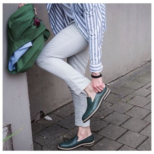Our friend @made.for.men styling his green pair of Stig 3 by Swedish men's footwear label Stig Percy