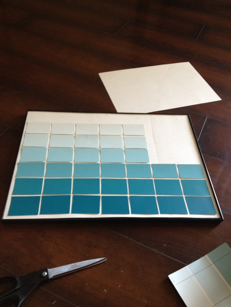 DIY Ombre Paint Chip Calendar ... I could do the dry erase calendar thing with a big frame magneted on to my fridge.