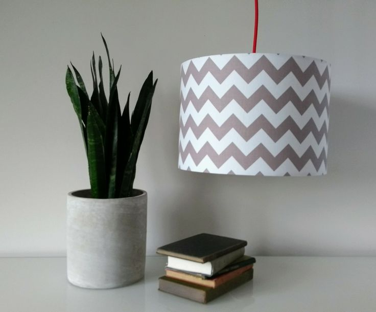 Hand Made Grey White Chevron Lampshade. #FunkyOliveHandmade #lampshade #lighting #hampshirelife www.funkyolive.co.uk