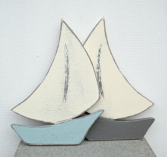 wood sailboat nautical art di folkycreations su Etsy