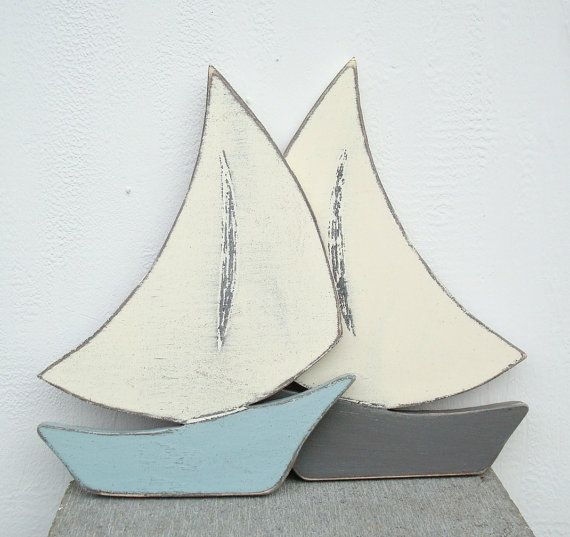 wood sailboat nautical art by folkycreations on Etsy