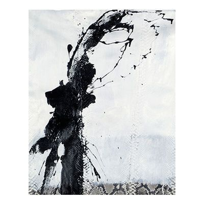"""""""Bruise"""", mixed media abstract painting and drawing on matte natural python skin by New York City artist Jake Blake.  Blake uses an austere palette of black, white, and grey combining bold brush strokes, heavy layering, and deft, elegant drawing to create depth."""