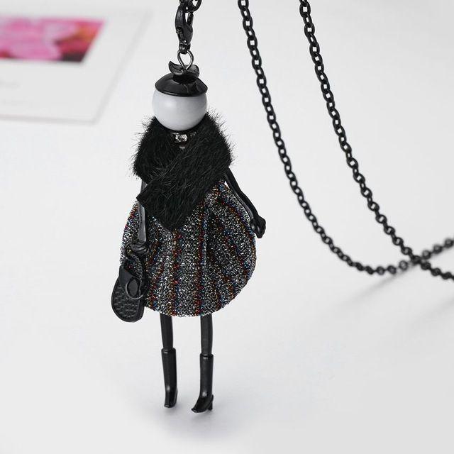 2016 Последние Новая Мода Кукла Ожерелье! симпатичные Зимние Кожаные Куклы Ожерелье Женщины Аксессуары Ювелирные Изделия Женщина Подарки Партии NS415