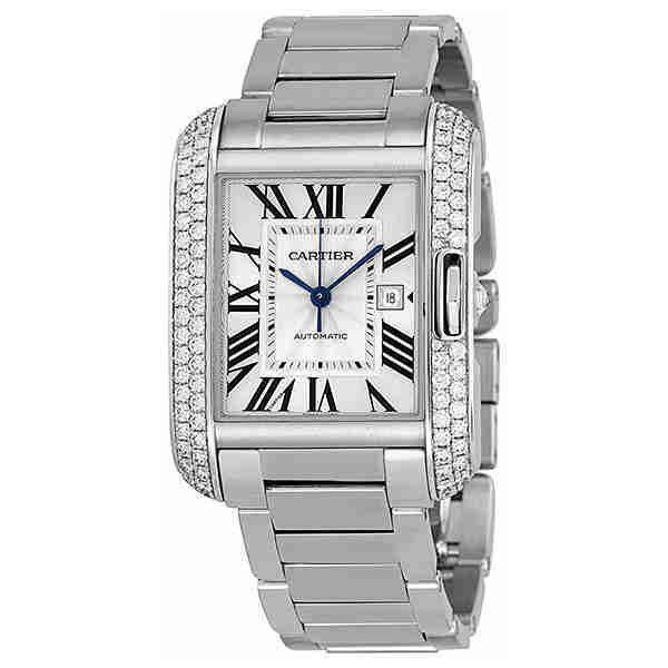 Cartier Tank Anglaise Silver Dial 18kt White Gold Diamond Ladies Watch ($40,400) ❤ liked on Polyvore featuring jewelry, watches, diamond wrist watch, diamond watches, analog watches, rectangle dial watches and roman numeral watches