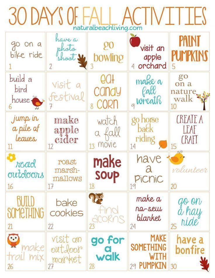 30 Tage Herbstaktivitäten für die ganze Familie (kostenlos zum Ausdrucken)