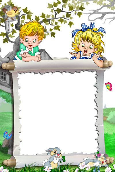 White Kids Transparent Frame Kids and Bunnies