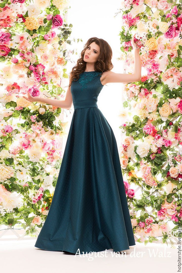 Купить Женственное платье в макси длине - платье на выпускной - однотонный, модное платье, хлопоковое платье