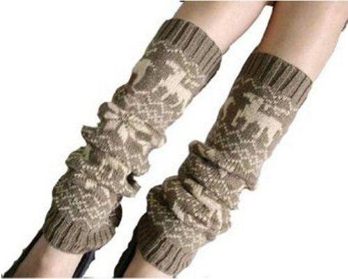 $7.19 - $11.99 nice Eforcase Girls Cute Reindeer Pattern Wool Knit Warmer Crochet Leggings Socks