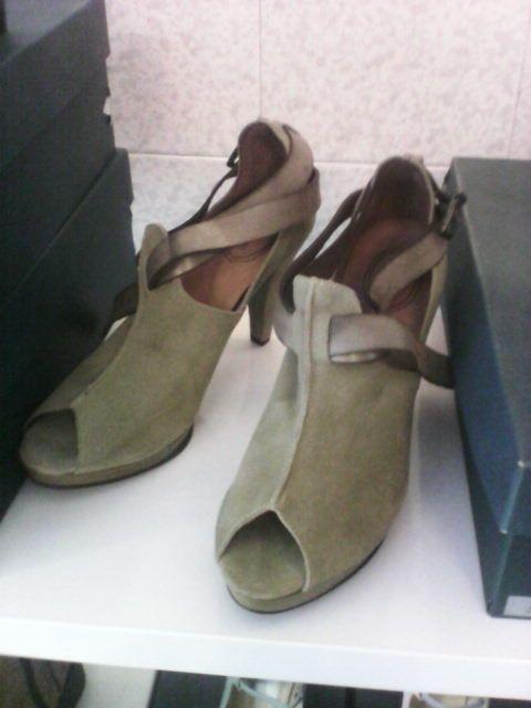 Scarpe donna aperte in punta, tacco 10 cm color tortora