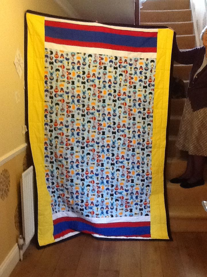This is the other side of Baby Bo's quilt for when he is a little super hero.