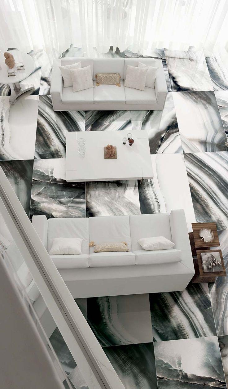 Alabaster marble flooring of shiny ceramic tiles: Alabastri Collection #alabaster #flooring #black #white #new #modern #style #inspiration #love #luxury