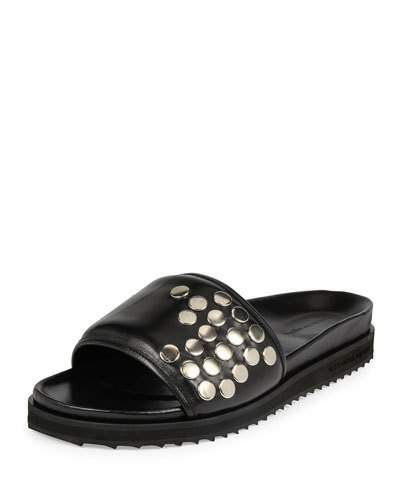 Alexander+Mcqueen+Studded+Leather+Slide+On+Sandals+Black+|+Shoes+and+Footwear