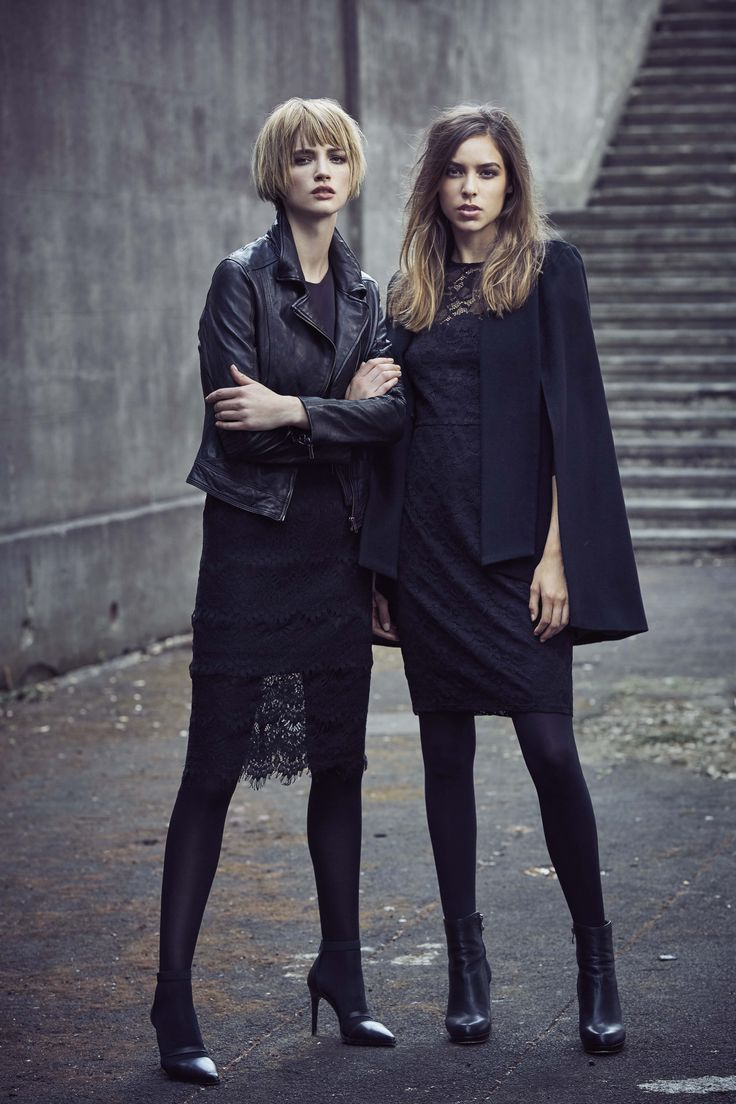Leather and Lace Outfits with Black Cape
