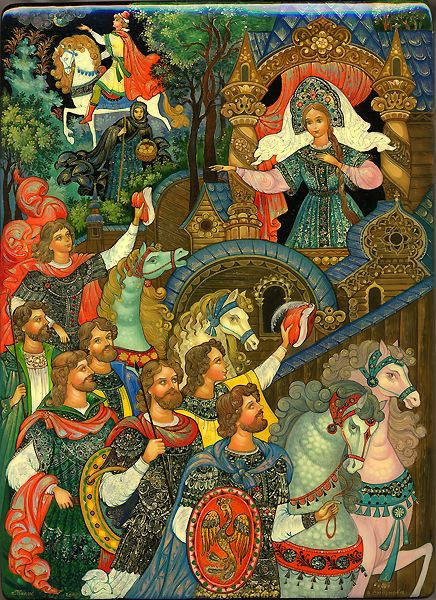 Tale of a Sleeping Princess and Seven Bogatyrs Palekh 2008 Smirnova Vera✖️More Pins Like This One At FOSTERGINGER @ Pinterest✖️