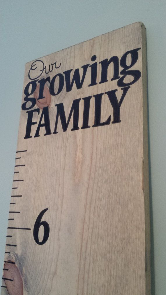 """Handpainted Childrens Wooden Growth Chart """"Our growing Family"""" Grey Stain Pre-made and ready to ship"""