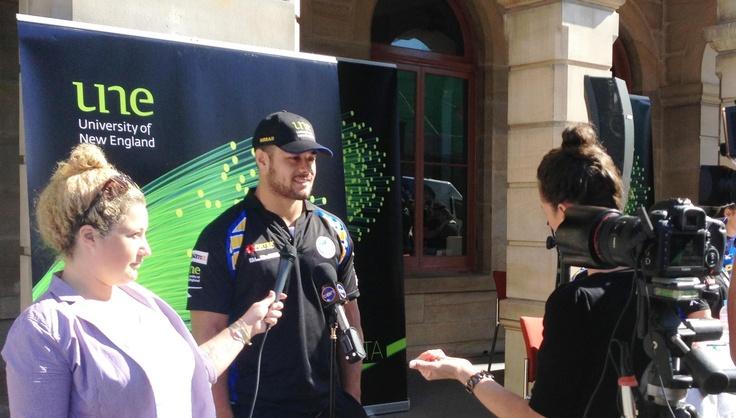 Parramatta Eels Captain Jarryd Hayne being interviewed at the UNE Future Campus opening on Church St, Parramatta