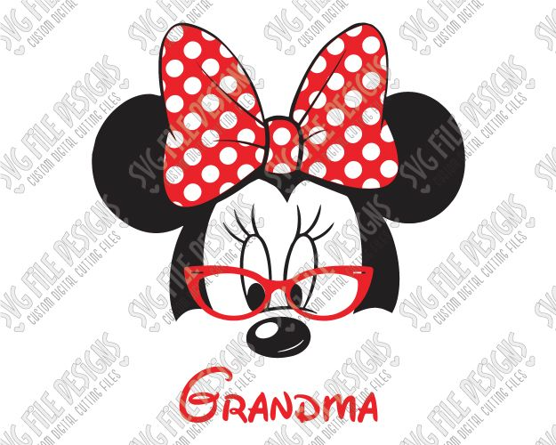 Minnie Mouse Grandma SVG Cut File Set for Grandparent's Family Disney Shirts in SVG EPS DXF JPEG and PNG for Cricut, Silhouette, and Brother ScanNCut