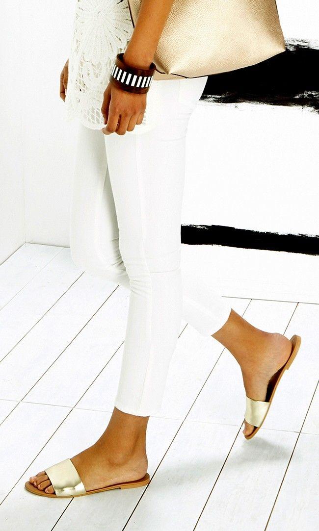 Gold slip-on banded leather sandals