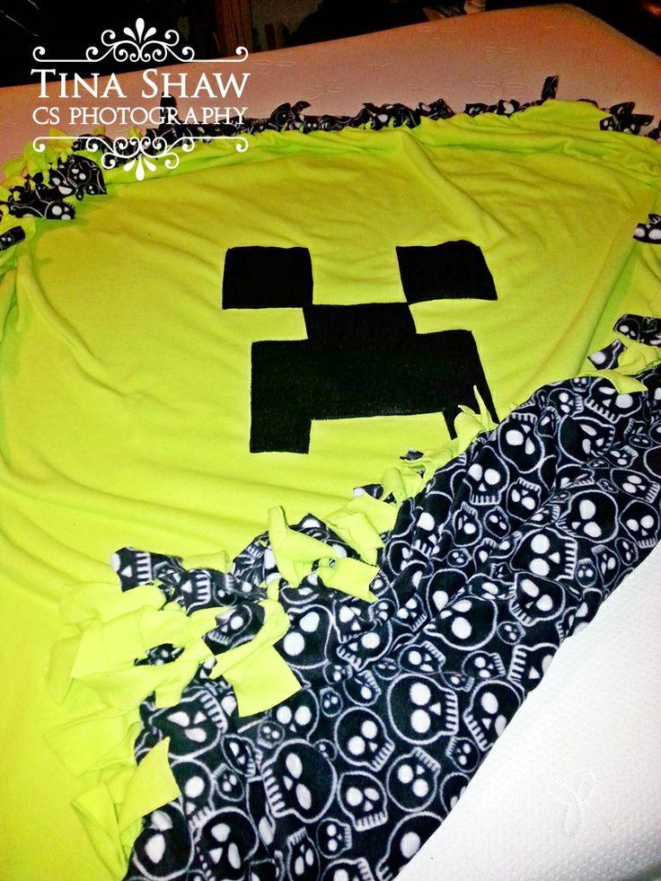 Homemade Minecraft Creeper No Sew Fleece Throw Just Use A