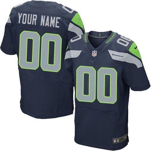 Nike Elite Navy Blue Men's Jersey - Customized Seattle Seahawks NFL Home