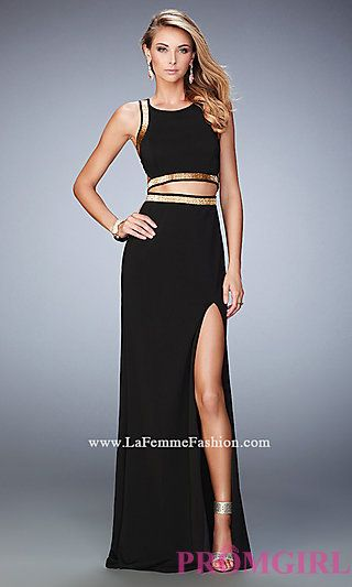 Long Two Piece La Femme Dress with Open Back at PromGirl.com