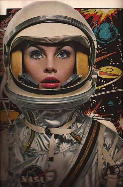 Women wearing Mercury spacesuits.  Photograph by Richard Avedon.  Look at that spacesuit.  Wow.