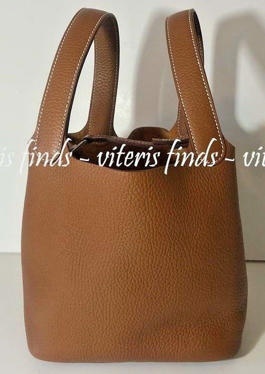ac8cd649e9bd Authentic Hermes Picotin PM 18cm 2017 Clemence Gold Brown Leather Tote Hand  Bag - Hermes Picotin