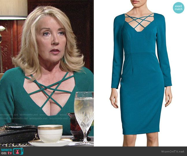 bb8fb89f813 Nikki s teal green strappy front dress on The Young and the Restless.  Outfit Details