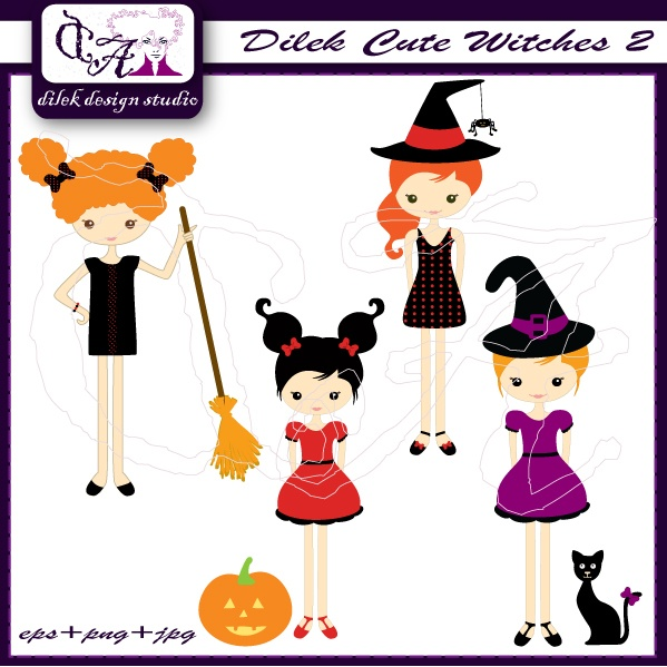Dilek Cute Witches 2 clipart perfect for your craft project, scrapbooking, invitation, web design, paper product, design card and everything else. Great for cute announcements web store fronts, blog design or simple enough for embroidery. The non scary images are perfect for kids cards, scrapbook pages, favor boxes and holiday decor. Set: Comes with 4 editable individual design. Formats: Vector EPS8, opens with Illustrator, Corel Draw or Freehand, fully editable 300 dpi JPEG 300 dpi PNG…