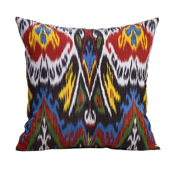 Bright, beautiful Uzbek silk ikat pillow cover  • Hand-dyed and hand-woven silk ikat fabric • Pure cotton cushion back • Hidden zipper • Size: 20