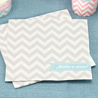 A pack of 20 3-ply grey chevron napkins with the words 'Make a mess'. Perfect for any special occasion, party, wedding or summer party!