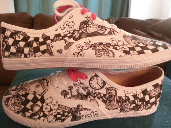 WRAPAROUND ARTWORK Disney's Alice in Wonderland Custom Made Shoes Artwork and Shoes (ie. Vans, converse, etc.) INCLUDED